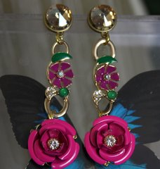 1114 Runway Enamel Fuchsia Rose Crystal Studs Earrings
