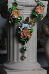523  SET Total Baroque Hand Painted Cherub Coral Flower Unique Statement Necklace