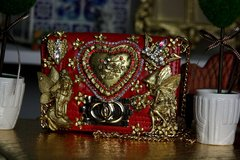 SOLD! 449 KIDS  Madam Coco Baroque Gold Heart Eye-Catch Red Fairy Purse Handbag