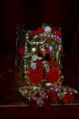 1986 Set Of Virgin Mary Red Rose Cuff+ Earrings