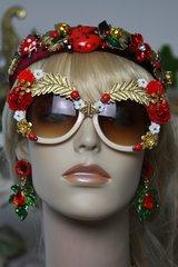 SOLD!1407 Designer Inspired Baroque Embellished Ladybug Bee Sunglasses