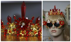 876  Runway Baroque Red Flower Crystal Elegant Tiara Head Piece Crown