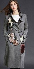 1606 Soft  2 Colors Applique Fancy Trench Coat