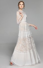 2621 Stunning French Lace Delicate Maxi White Dress Gown