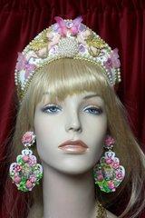 2352 Russian Cocoshnik Faced Cherubs Butterfly Crown Headband