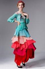 710 Bird Ruffled Multi Layered Maxi Dress
