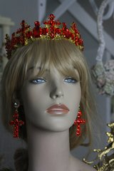 Baroque434 SET Designer Inspired Red Rhinestone Cross Crystal Headband Crown