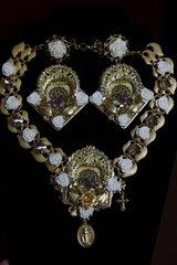 1985 Set  of Virgin Mary Milky Rose Necklace Plus Earrings
