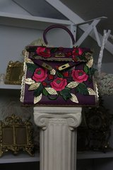 SOLD! 405 GENUINE LEATHER Purple Flower Emroidery One Of A Kind Embellished Handbag Purse