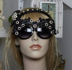 948  UV 400 Zibellini Hand Painted Embellished Black Glitter Funky Shades Sunglasses