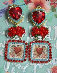 2344 Hand Painted Red Rose Cherubs Red Crystal Heart Studs