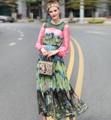 2191 Designer Inspired Paint Chiffon Mid Cuff Dress US2-US4