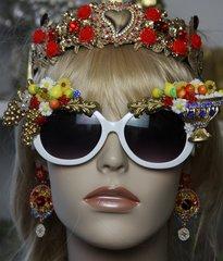1443 Baroque Greek Vase Lemon Grapes Flower Embellished Sunglasses