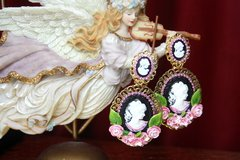 2576 Victorian Cameo Hand Painted Flower Massive Earrings