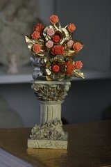 Art Nouveau Coral Flower Metal Bangle Cuff