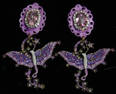 1980 Purple Hand Painted Enamel Fairy Studs Earrings