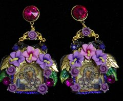 2003 Virgin Mary Flower Icon Black Filigree Stunning Earrings