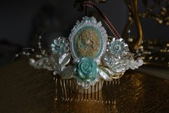605  Hair Comb Art Nouveau Hand Painted Pearl Mint Goddess Crystal
