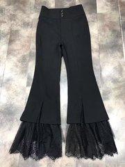 2199 100 Linen Trendy Crop Lace Pants US2-US4