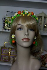 SOLD! 104 Spring 2016 Inspiration Hand Painted Bright Orange Fruit Pom Pom Headband Tiara