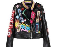 1346 New-York Punk Fashion Pu Leather Graffiti Moto Jacket