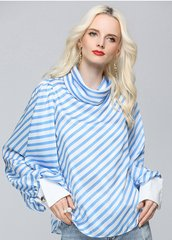 2444 Runway Designer Oversized Sleeve Striped Top Blouse