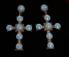 1799 Blue Mosaic Baroque Cross Massive Studs Earrings