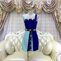 2371 Designer Inspired Lion Button Blue Mini Dress Size US2