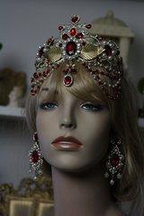 SOLD! 424 SET Baroque Red Rhinestone Leaf Metal Crown Tiara+ Earrings