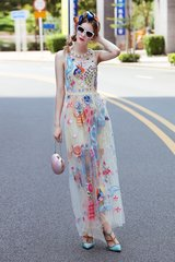 2446 2 Colors Stunning Embroidery Sheer Maxi Dress
