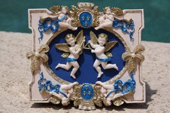 SOLD! 698  Total Baroque Cherub Unusual Unique Hand Painted Cigar Box Blue Handbag Trunk