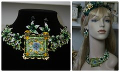 1145 Sicilian Crystal Green Lemon Print Cameo Choker Set