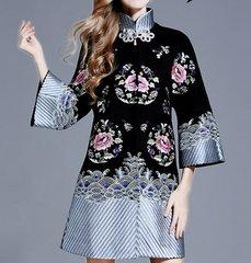 1254 Woolen Blend 3 Colors Asian Style Kimono-Coat