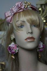 1384 Spring 2017 Designer Inspired Massive Pink Flower Crystal Studs Earrings