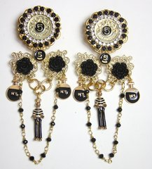 2640 Madam Coco Stunning Unusual Sailor Charms Studs Earrings Light Weight