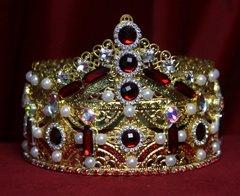 1700 Baroque Alta Moda 2017 Tall Red Crystal Pearl Crown Headband