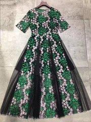 2392 Designer Inspired Runway Embroidery Sheer Dress