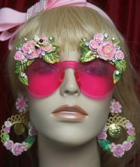 SOLD! 2733 Hand Painted Rococo Stunning Rose Leaf Bee Embellished Sunglasses