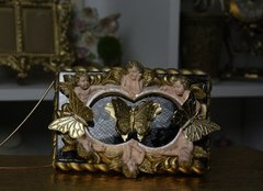 SOLD COLLECTIBLE Total Baroque 3D Effect Glitter Cherub's Gold Butterfly Purse Handbag Crossbody Clutch