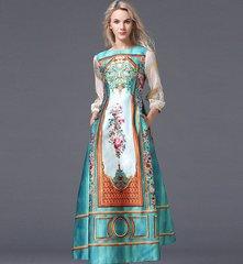 172 Luxury Victorian Print Elegant Maxi Dress