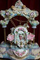 SOLD! 2014 Set Of Hand Painted Massive Marie Antoinette Rose Fan Necklace+ Earrings