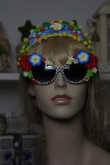 SOLD! 444 Polka Dot Embellished Flower Fancy Eyewear