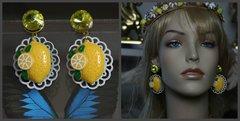 1301 Lemon Fruit Yellow Crystal White Filigree Earrings