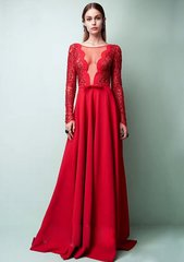 1710 Designer Red V-neck Lace Gown Maxi Red Dress