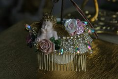 599  Hair Comb Baroque Hand Painted Cherub Ceramic Roses Crystal