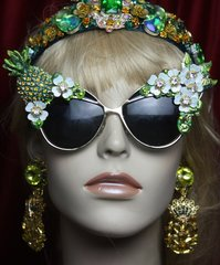 SOLD! 2739 Baroque Rococo Crystal Pineapple Flower Hand Painted Sunglasses