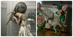 SOLD! 44 Victorian Style 3D Hand Painted Chunky Roses Chair Unusual Clutch Evening Handbag