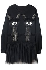 1481 Grunge New-Yorker Fashionista Eye Pin Oversized Dress