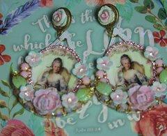 2471 Marie Antoinette Massive Cameo Hand Painted Flower Earrings