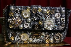 SOLD! 1867 Madam Coco Brooches Tweed Elegant Chain Handbag Purse